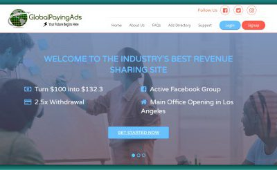 Global Paying Ads – Powerful RevShare for the Admins & Friends