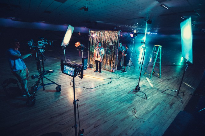 video recording, studio, lights, cameras