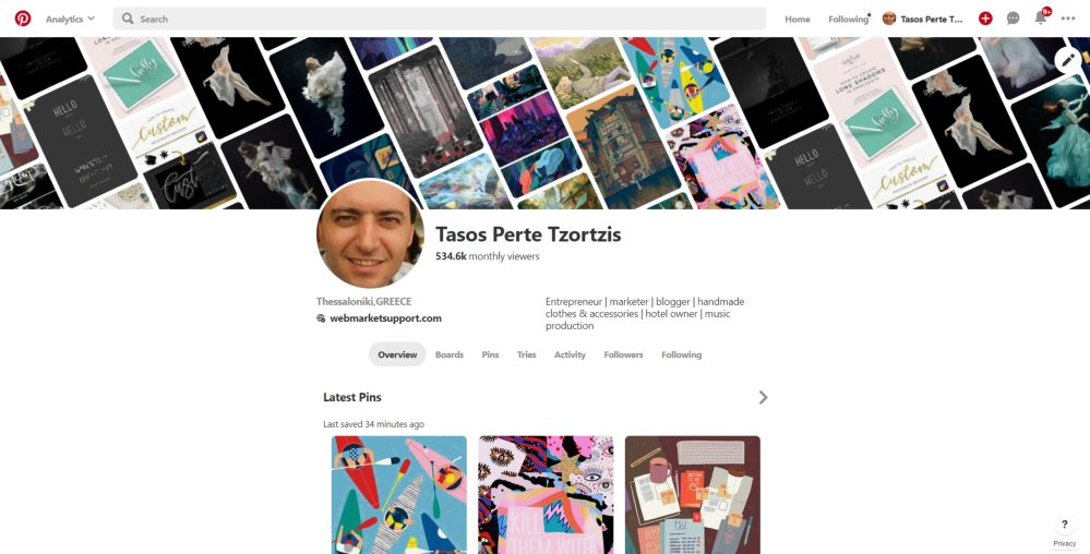 tasos perte pinterest 500,000+ monthly views