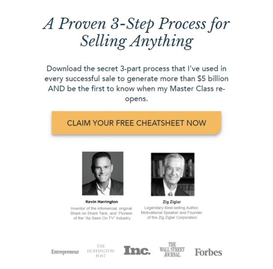 kevin harrington- free cheatsheet