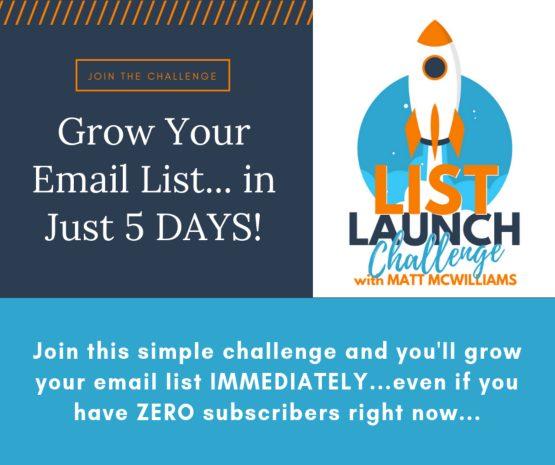 matt mcwilliams list launch challenge