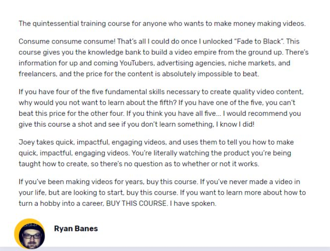 fade to black testimonial ryan banes