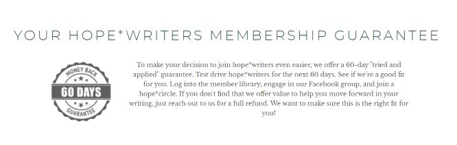 hope writers review guarantee
