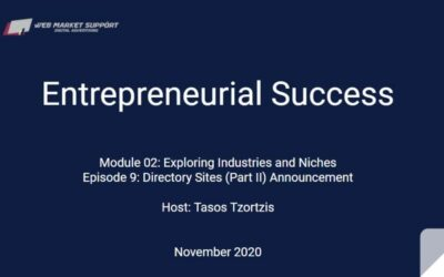 Entrepreneurial Success – Module 2 Ep#09 – Directory Sites (Part 2) Announcement