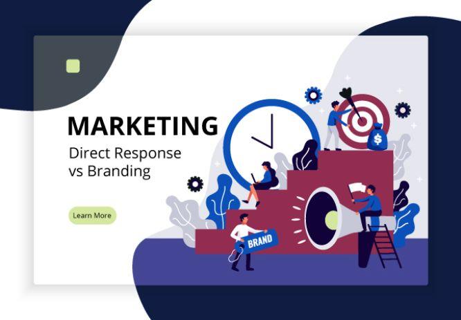 direct response marketing vs branding - Digital marketing page design with brand development symbols