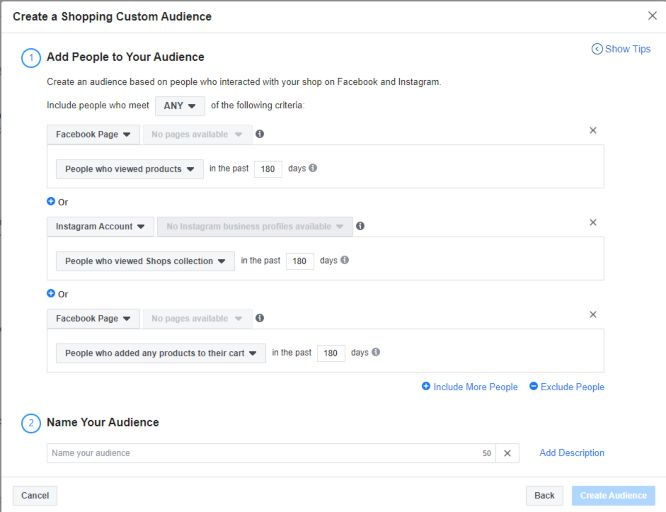 keyword research importance - facebook campaign shopping custom audience