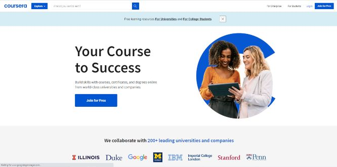 coursera - online learning portals