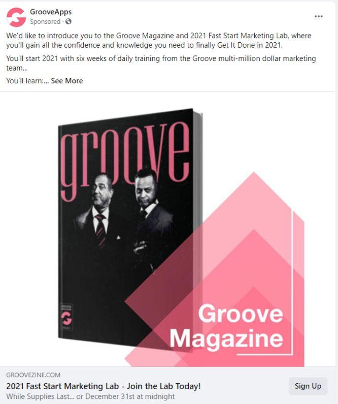 direct response marketing - example groovezine