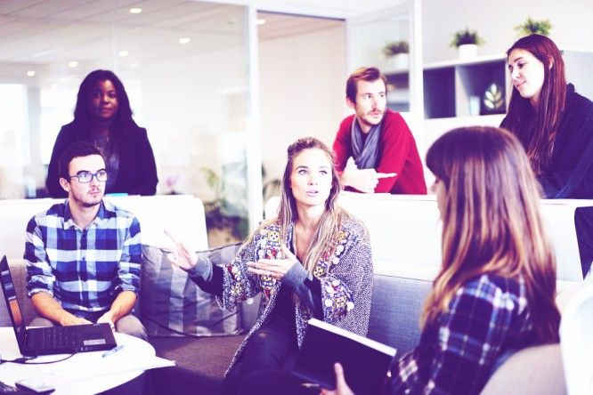employees meeting discuss ideas working environment