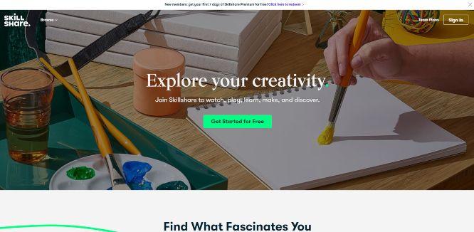 skillshare - online learning portals