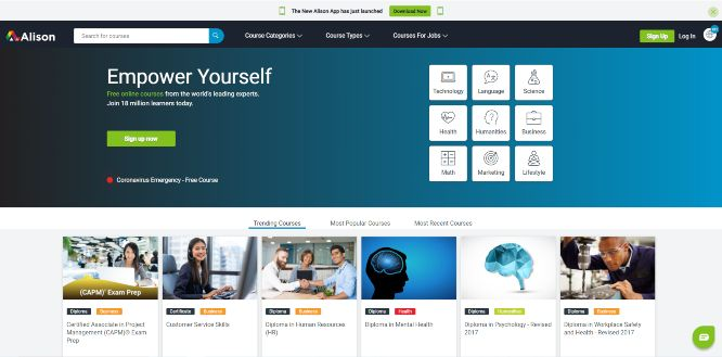 alison - online learning portals