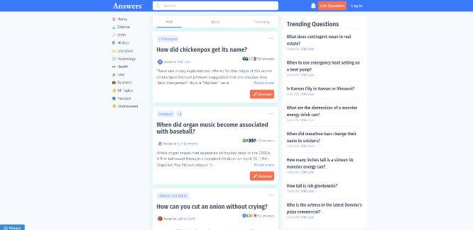 answers - social q&a platforms