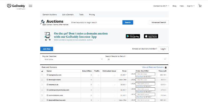 godaddy - domain flipping marketplaces