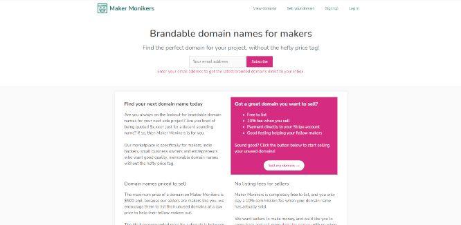 maker monikers - domain flipping marketplaces