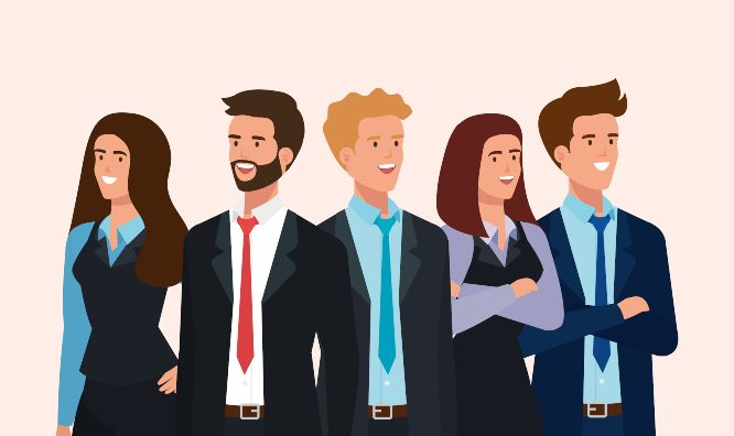 meeting of business people avatar character vector illustration design