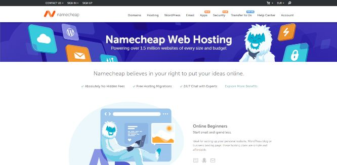 namecheap - web hosting providers