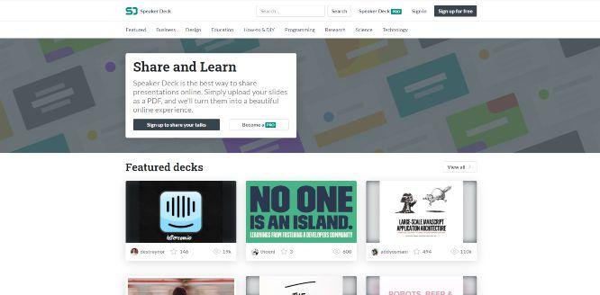 speakerdeck - presentation sharing platforms