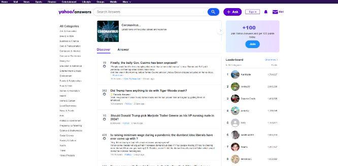 yahoo answers - social q&a platforms