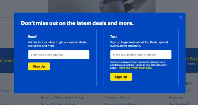bestbuy popup example - boost conversions with exit intent popups