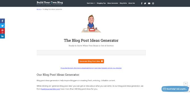 buildyourownblog - the blog post ideas generator - content marketing tools & software