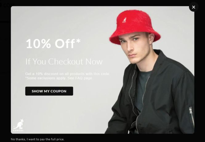 hats purchase process discount offer popup - boost conversions with exit intent popups