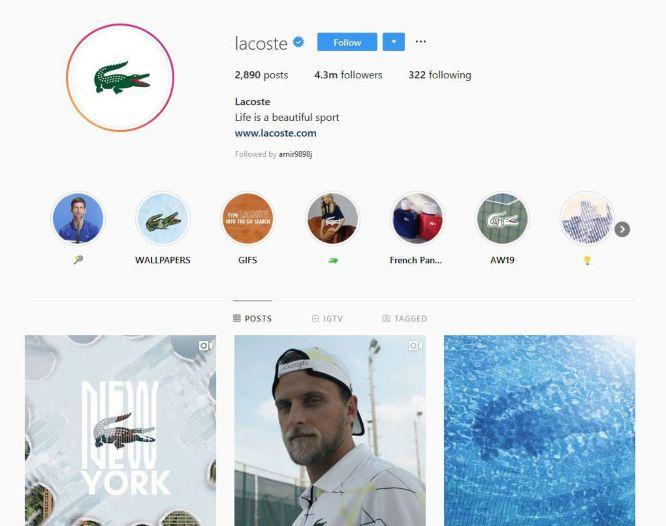 instagram marketing in 2021 - lacoste