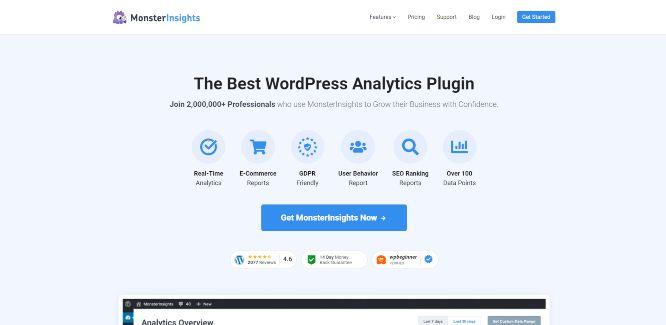 monsterinsights - website analytics & statistics tools