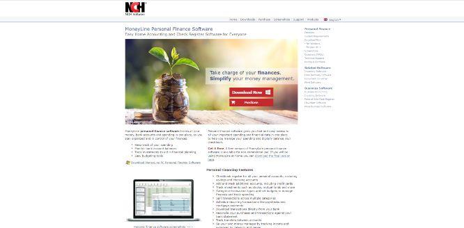 nch moneyline personal finance saoftware - money management apps & tools