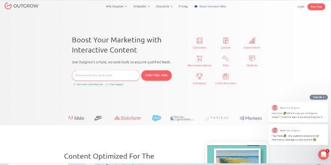 outgrow - vontent marketing tools & software