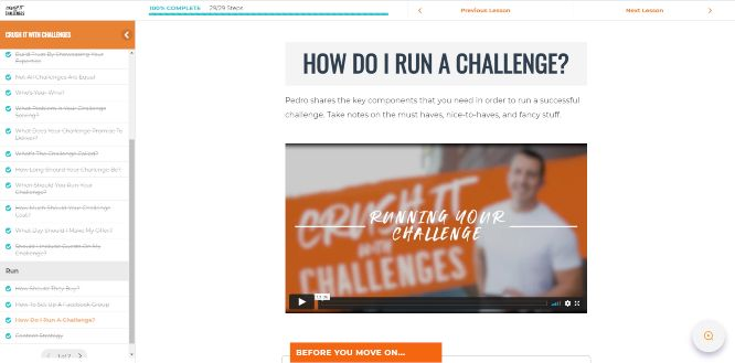 pedro adao crush it with challenges members area how do i run a challenge