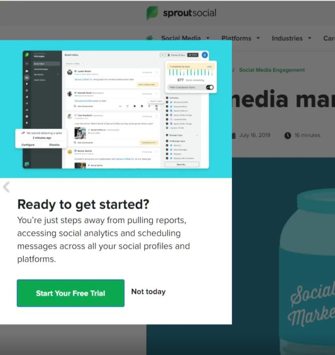 sproutsocial popup example - boost conversions with exit intent popups