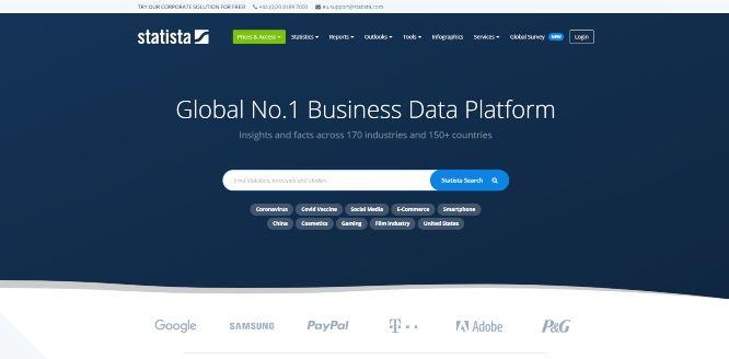 statista - websites with statistics