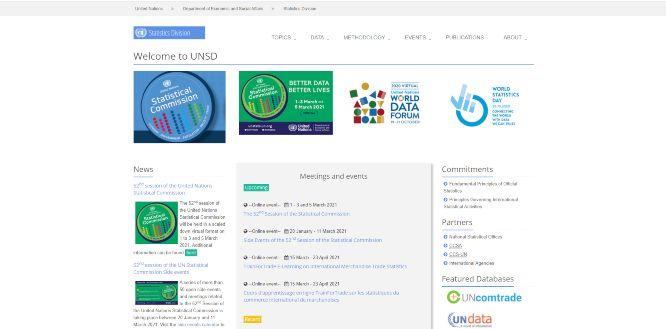 unsd statistics division - websites with statistics