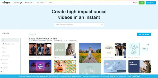 vimeo - video templates