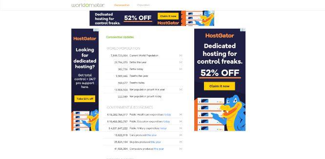 worldometers - websites with statistics
