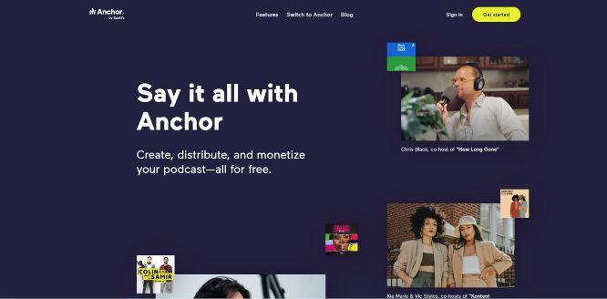 anchor - podcast hosting platforms