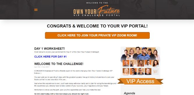 own your future challenge vip dashboard